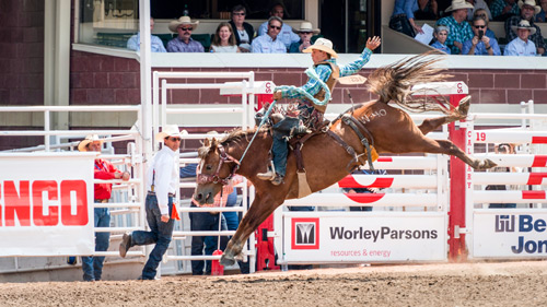 Bareback Rodeo Reiter bei der Calgary Stampede - (Foto: ©Justin Foulkes/LP TRAVELLER MAGAZINE COLLECTION)